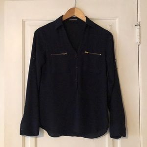 Express Brass Button Blouse